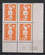 France - 1990 - N°Yv. 2620 - Marianne De Briat 1f Orange - Bloc De 4 Coin Daté - Neuf Luxe ** / MNH / Postfrisch - 1990-1999