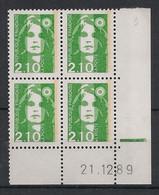 France - 1990 - N°Yv. 2622 - Marianne De Briat 2f10 Vert - Bloc De 4 Coin Daté - Neuf Luxe ** / MNH / Postfrisch - 1990-1999