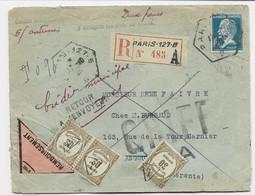 PASTEUR 1FR50 SEUL LETTRE REC PARIS 127BB 1928 C REMB POUR ANGOULEME + 30C RECOUVREMENTSX3 SURCHARGE T DE TAXE - Lettere Tassate