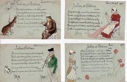 JULIEN  ET  BÉTINA  -  10   CPA   Dessinées , Peintes & écrites à La Main D'un  Poême Signé  L J  ROSEY  ( 20 / 12 / 382 - Fairy Tales, Popular Stories & Legends