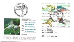 """53 - 25 - Enveloppe Suisse """"Vol Ballon"""" Avec Série Pro Juventute 1997 Et Oblit Spéciale - Montgolfier"""