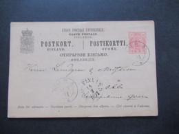 Finnland 1891 Ganzsache 2x Stempel Aura 91 Nach Abo Schweden Gesendet - Covers & Documents