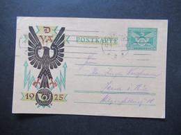 Deutsches Reich 1925 Sonderpostkarte GA P 206 I Maschinenstempel München Nach Jena Gesendet. DVA Deutsche Verkehrsausste - Brieven En Documenten