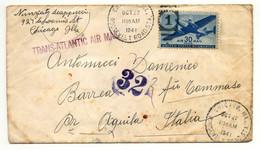 Chicago 1941 Nach Aquila - L'Aquila, Italien, Trans-Atlantic Air Mail, Zensur - Censura - Briefe U. Dokumente