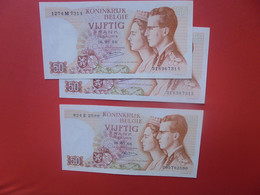 BELGIQUE 50 Francs 16-5-66 DONT 2 NUMEROS SE SUIVANT Peu Circuler - 50 Francs