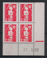 France - 1989 - N°Yv. 2614 - Marianne De Briat 2f30 Rouge - Bloc De 4 Coin Daté - Neuf Luxe ** / MNH / Postfrisch - 1980-1989