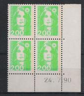 France - 1990 - N°Yv. 2621 - Marianne De Briat 2f Vert Clair - Bloc De 4 Coin Daté - Neuf Luxe ** / MNH / Postfrisch - 1990-1999