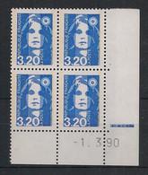 France - 1990 - N°Yv. 2623 - Marianne De Briat 3f20 Bleu - Bloc De 4 Coin Daté - Neuf Luxe ** / MNH / Postfrisch - 1990-1999
