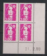 France - 1990 - N°Yv. 2624 - Marianne De Briat 3f80 Rose - Bloc De 4 Coin Daté - Neuf Luxe ** / MNH / Postfrisch - 1990-1999