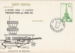 CP Repiquée : 1ère Liaison Périgueux-Paris Par Avion NORD 262 (Bassillac, 24-Dordogne) Du 05-04-1983 Sur YT 429-CP1 - Overprinter Postcards (before 1995)