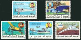 Mauritanie Mauritania 1977 RYAN NYP Spirit Of St Louis, Concorde, Ader Eole, Blériot XI, Savoia-Marchetti S-55 Hydravion - Airplanes