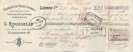 Lettre Change 31/3/1916 ROUSSELLE Confiseur Fruits Confits Confitures Pâtes  CLERMONT FERRAND Puy De Dôme Timbre Fiscal - Wechsel