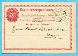 Postkarte Von Lachen Nach Chur 1870 - Stamped Stationery