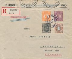 Sweden / Sverige - 1916 - 4 Stamps On R-cover From Liljendal - Censored Hamburg - To Langenthal / Schweiz - Brieven En Documenten