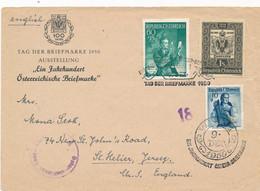 Österreich - 1950 - 3 Stamps On Censored Cover From Wien To Jersey / UK - Stamp On Stamp, Tag Der Briefmarke - 1945-60 Brieven