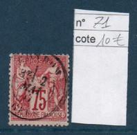 France YT 71 Sage N/B Cote 10 € - 1876-1878 Sage (Typ I)