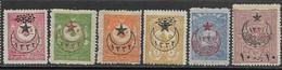 Turkey  1916   Sc#370, 371, 373, 378, 380, B38 MH  2016 Scott Value $6.95 - Oblitérés
