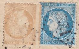 N°59 Et N°60A Sur Enveloppe, Très Gros Piquage à Cheval Sur Le N°59, RRR Aussi Décalé Et TB - 1871-1875 Ceres