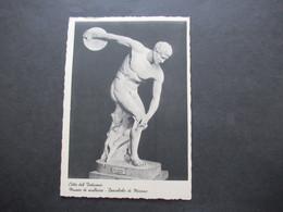 Vatican 1938 AK Museo Di Scultura Discobolo Di Mirone. Freimarken Papst Oius XI. Nr. 39 MiF Mit Nr. 21, 22 Und 24 - Covers & Documents