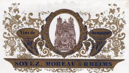 Carte Porcelaine CHAMPAGNE Soyez Moreau RHEIMS  Prix Courant - Champagne & Sparkling Wine