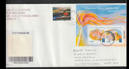 Greece Registered Cover Franked W/2004 Olympic Games In Athens Souvenir Sheet Posted Thessaloniki 2004 (LF10) - Estate 2004: Atene