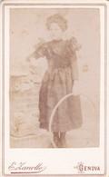 Photo Foto - Formato CDV - Ragazza Con Cerchio - Years '1880 - Erminio Zanollo, Genova - Anciennes (Av. 1900)