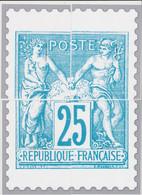 France - Cadeau De Philaposte - 25c Type Sage - Les 4 Encarts (ceci N'est Pas Un Timbre) - Neuf ** - 1876-1878 Sage (Typ I)