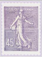 France - Cadeau De Philaposte - 45c Type Semeuse Lignée - Les 4 Encarts (ceci N'est Pas Un Timbre) - Neuf ** - 1903-60 Säerin, Untergrund Schraffiert