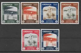 CYRENAIQUE - POSTE AERIENNE SERIE YT N° 24/29 * MH (SANS CHARNIERE MAIS PETITES ROUSSEURS)  - COTE = 30 EUR. - Cirenaica