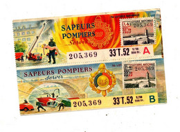 Billet De Loterie 1952 Sapeur Pompier - Loterijbiljetten