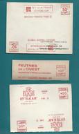 3 EMA : ELKAR (Hendaye)/ Feutres De L'OUEST (CUGAND), JAD (BORDEAUX FONDAUDEGE) - 1943-1951 - EMA (Printer Machine)