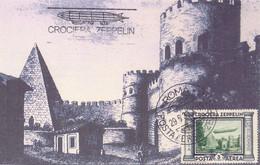 1933 Cartolina Con Crociera Zeppelin Da 3 Lire Da Roma - ANNULLI NON GARANTITI - Marcofilía