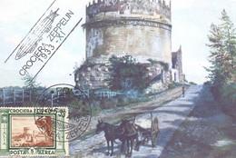 1933 Cartolina Con Crociera Zeppelin Da 5 Lire Da Roma - ANNULLI NON GARANTITI - Marcofilía