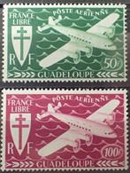 R2062/678 - 1945 - COLONIES FR. - GUADELOUPE - POSTE AERIENNE - N°4 à 5 NEUFS* - Poste Aérienne
