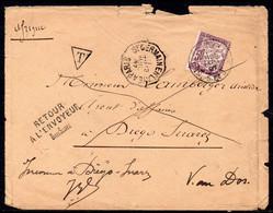 Madagascar - 1897 - Lettre Non Affranchie St Germainen France Et Taxée à Diego Suarez. Inconnu Retour à L'envoyeur - A5 - Zonder Classificatie