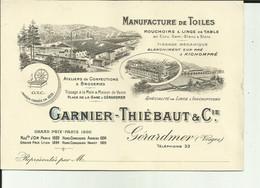 88 - Vosges - Gérardmer - Carte/ Avis De Passage - Ets.Garnier - Thiébaut &Cie - Belles Vignettes - - Gerardmer