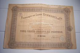 FILATURE DE LAINE   SCHWARTZ &Cie  - CINQ CENT FRANCS  - CAPITAL :TRENTE  MILLONS - ( 1924 ) - Textil