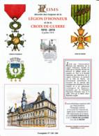 Encart Philatélique A4 Légion D'honneur Et Croix De Guerre à La Ville De Reims YT N°5388. Illustration R. Irolla. - Unclassified