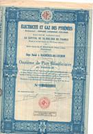 Actions - BAGNERE DE LUCHON - Electricité Et Gaz Des Pyrénées 1931 - Elektrizität & Gas