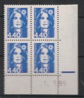 France - 1993 - N°Yv. 2822 - Marianne De Briat 4f40 Bleu - Bloc De 4 Coin Daté - Neuf Luxe ** / MNH / Postfrisch - 1990-1999