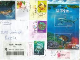 Registered Letter From Taipei City,bloc-feuillet Tortue Verte/Requin à Pointes Noires, Adressée En Crimée. Deux Photos - Storia Postale
