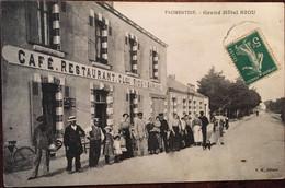 CPA 1916,FROMENTINE-la Barre Des Monts 85) Grand Hôtel RIOU, Devanture Animée, Enseigne Café.Restaurant CL. RIOU Garage - Altri Comuni