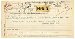 ALLIER TELEGRAMME 1940 MOULINS SUR ALLIER TELEGRAMME OFFICIEL MILITAIRE MODELE N°698 + ETIQUETTE OFFICIEL - 1921-1960: Periodo Moderno