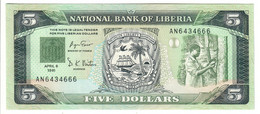 LIBERIA5DOLLARS06/04/1991P20UNC.CV. - Liberia