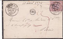 N° 54 S / Env Voyageat Ouverte T.P. Ob Henan Bihen 10 Avril 74 - 1870 Ausgabe Bordeaux