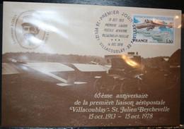 1ère Liaison Postale Aérienne Villacoublay Pauillac Sur Carte Postale Avec Lieutenant Ronin - 1970-1979