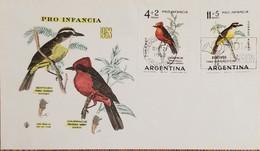 A) 1963, ARGENTINA, BIRDS, FDC, PRO CHILDHOOD - Oblitérés