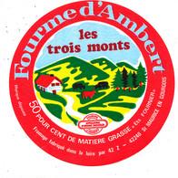 Z 558 /   ETIQUETTE DE   FROMAGE -FOURME D'AMBERT  LES TROIS MONTS    ST MAURICE EN GOURGOIS  LOIRE - Formaggio