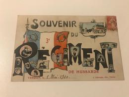 Carte Postale Ancienne  (1910) Souvenir Du 3e Régiment De HUSSARDS  Verdun - Regiments