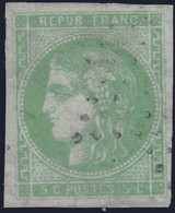 *RARE* 5c Bordeaux Oblitéré ETOILE Aspect TB (Y&T N° 42B, Cote 900€ ) - 1870 Bordeaux Printing